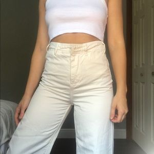 FREE PEOPLE CREAM FLARE PANTS